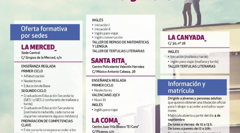 Los vecinos de Paterna ya tienen la oferta formativa para matricularse en los centros para adultos